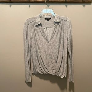 Banana Republic Gray Long Sleeve Wrap Top - Size S